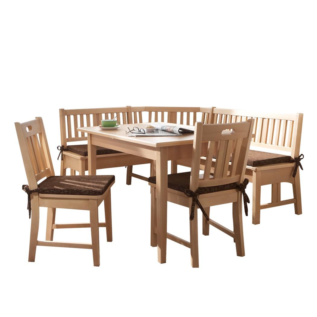 Eckbankgruppe Antonio (4-teilig) – Buche Teilmassiv – Eckbank, Tisch & zwei Stühle – Zubehör: ohne Auflage, Homedreams günstig