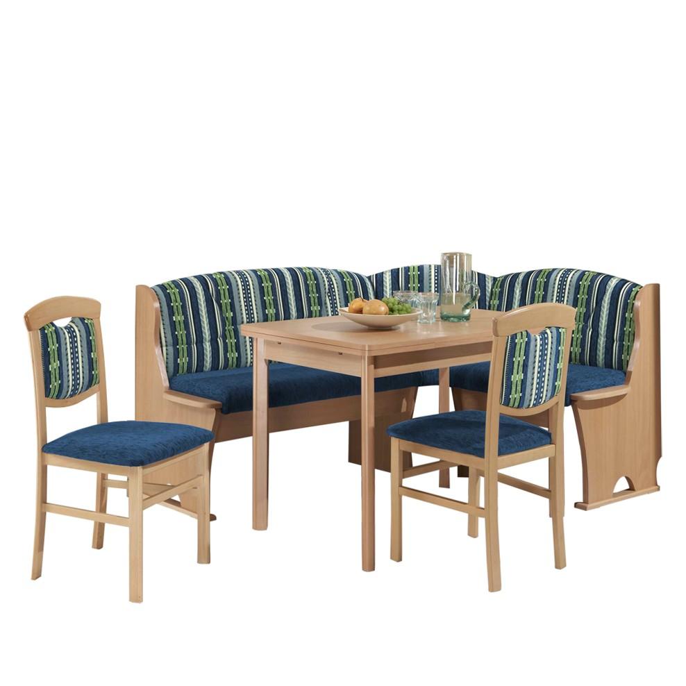 Eckbankgruppe Gloria (4-teilig) – Buche Dekor/Blau gemustert – Eckbank, zwei Stühle & Tisch, Rodario günstig online kaufen