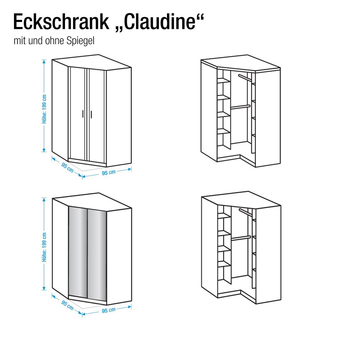 eckschrank claudine mit spiegel alpinwei wimex schlafen kleiderschr nke dreht renschr nke. Black Bedroom Furniture Sets. Home Design Ideas