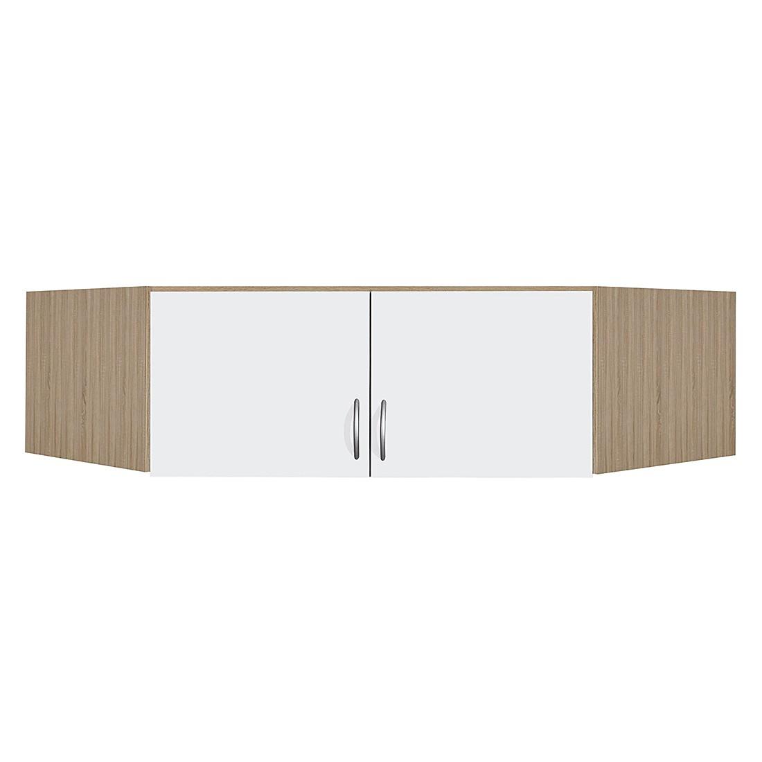 Eckschrankaufsatz Case - Alpinweiß/Sonoma Eiche Dekor