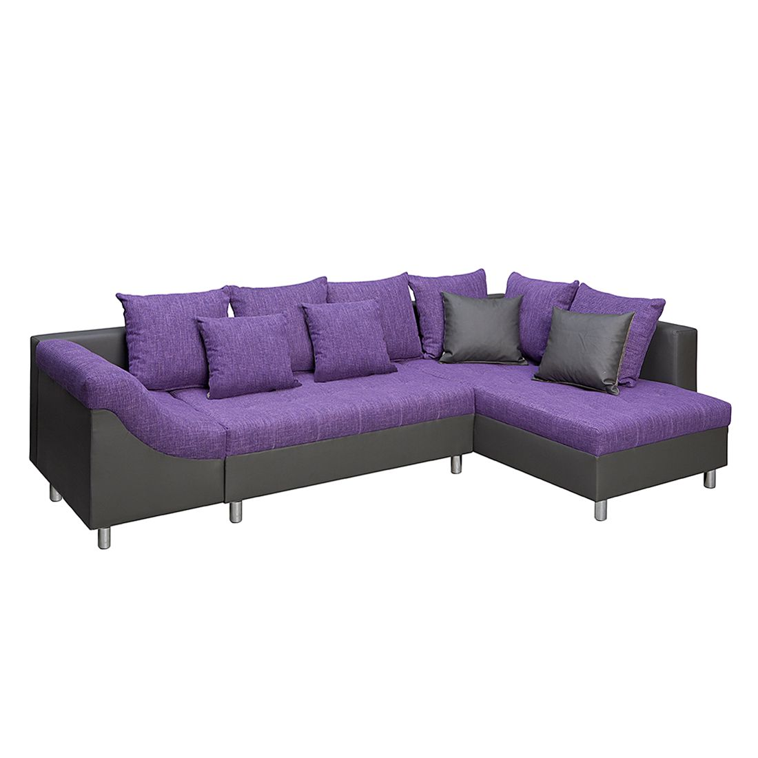 ecksofa andalus 3 sitzer webstoff lila meliert kunstleder schwarz ottomane davorstehend. Black Bedroom Furniture Sets. Home Design Ideas