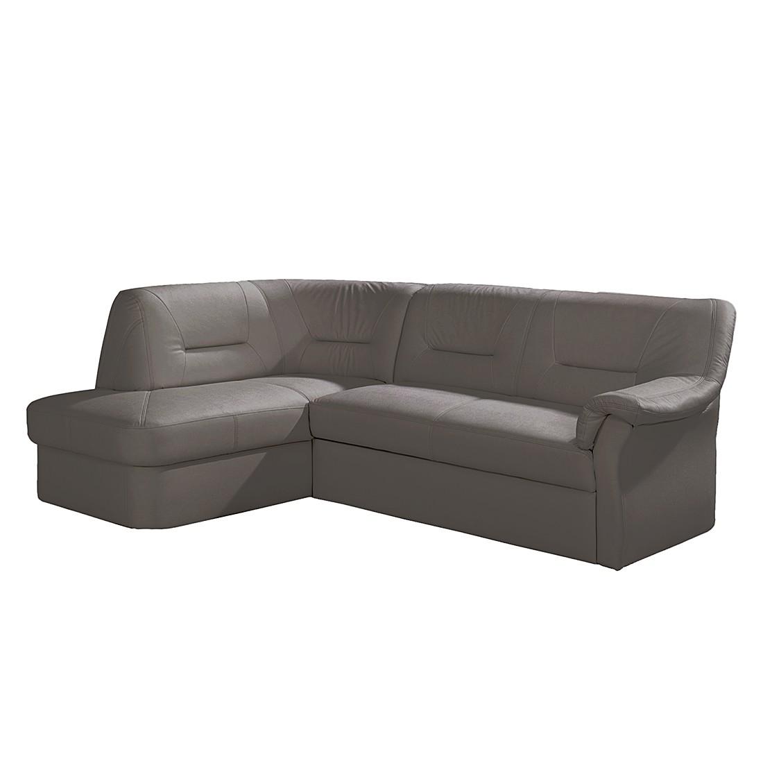 ecksofa badalona mit schlaffunktion kunstleder grau ottomane davorstehend links nuovoform. Black Bedroom Furniture Sets. Home Design Ideas