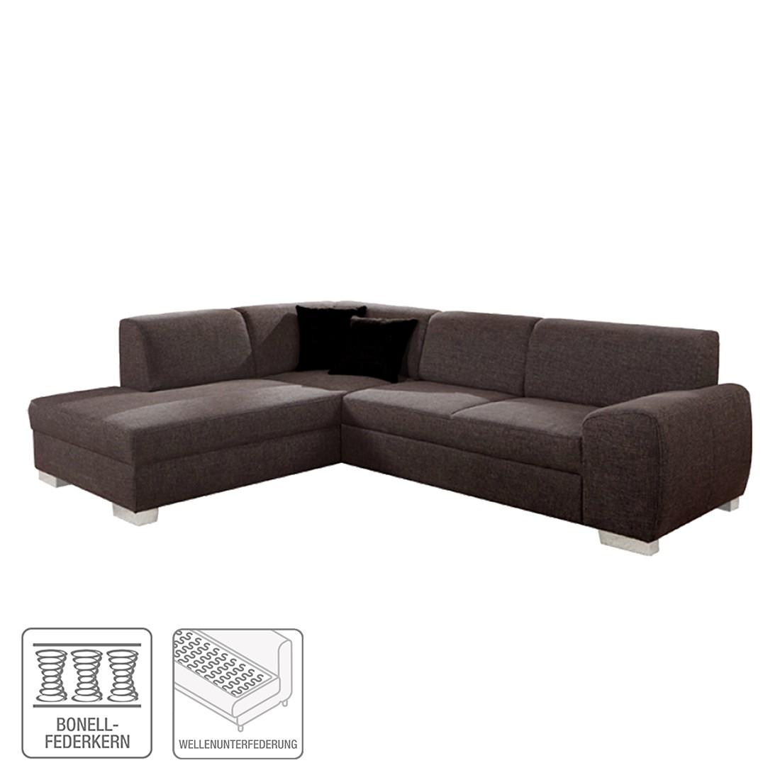 Ecksofa Barkley – Stoff – Braun – Ottomane davorstehend links mit Schlaffunktion, Home Design kaufen