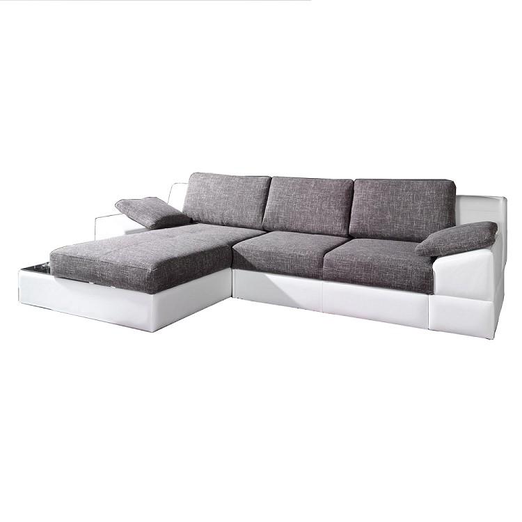 Ecksofa Zalia (mit Schlaffunktion) – Kunstleder Weiß/Strukturstoff Grau – Longchair davorstehend links, California bestellen