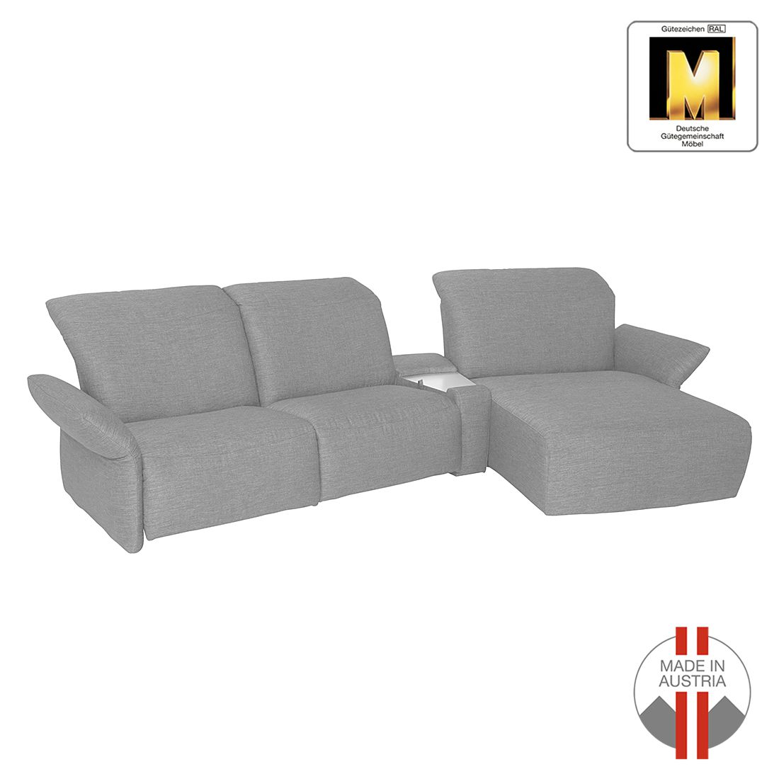 ecksofa bormio webstoff longchair ottomane davorstehend rechts grau ada premium online. Black Bedroom Furniture Sets. Home Design Ideas