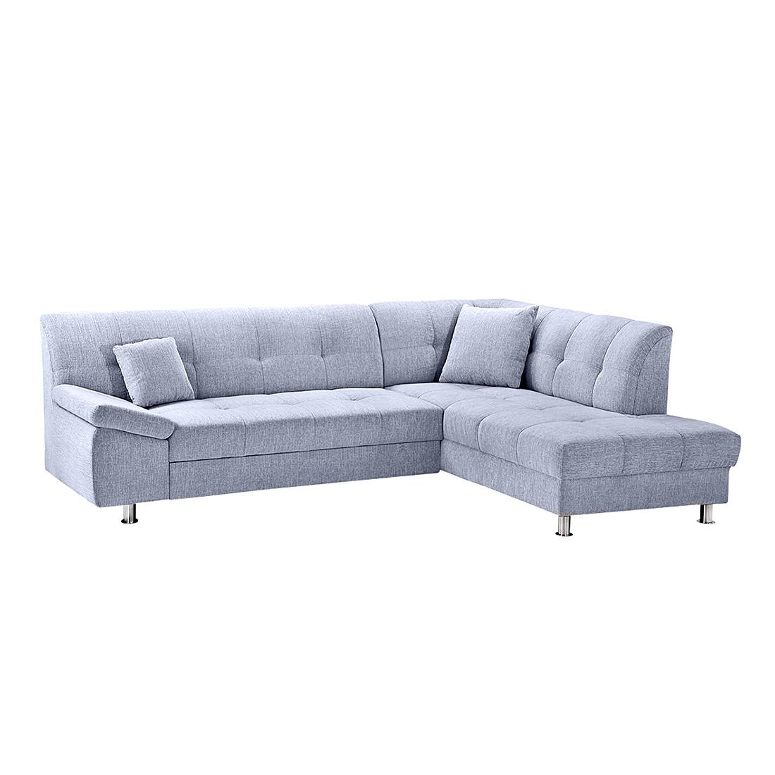 ecksofa borneo mit schlaffunktion webstoff hellblau ottomane davorstehend rechts. Black Bedroom Furniture Sets. Home Design Ideas