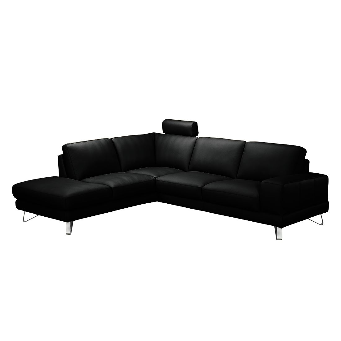 ecksofa bradley kunstleder schwarz ottomane davorstehend links ohne kopfst tze loftscape. Black Bedroom Furniture Sets. Home Design Ideas