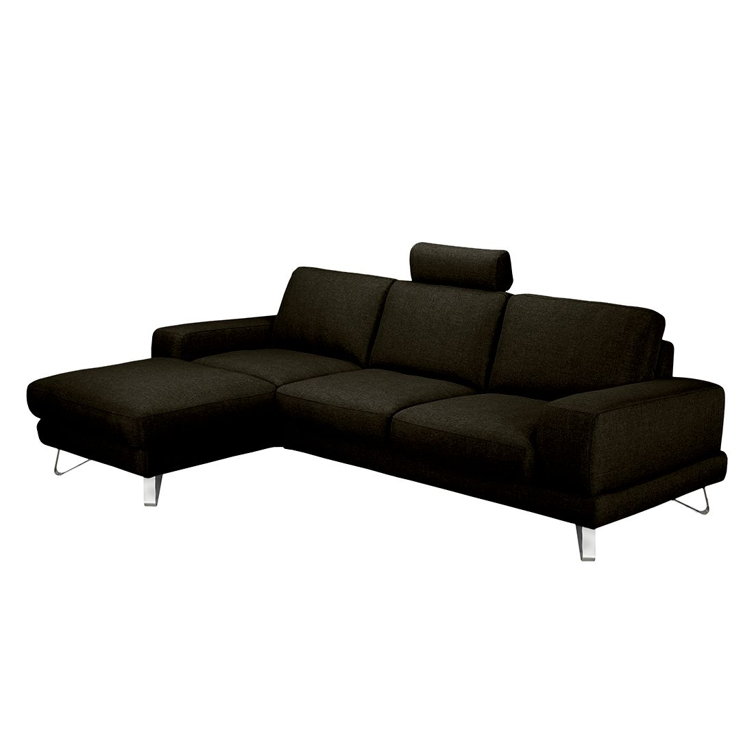 ecksofa bradley webstoff braun schwarz longchair. Black Bedroom Furniture Sets. Home Design Ideas