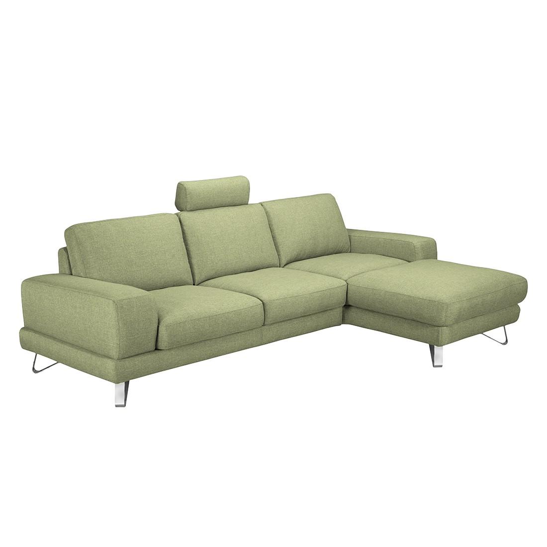 Ecksofa Bradley – Webstoff Grün – Longchair davorstehend rechts – Ohne Kopfstütze, loftscape bestellen