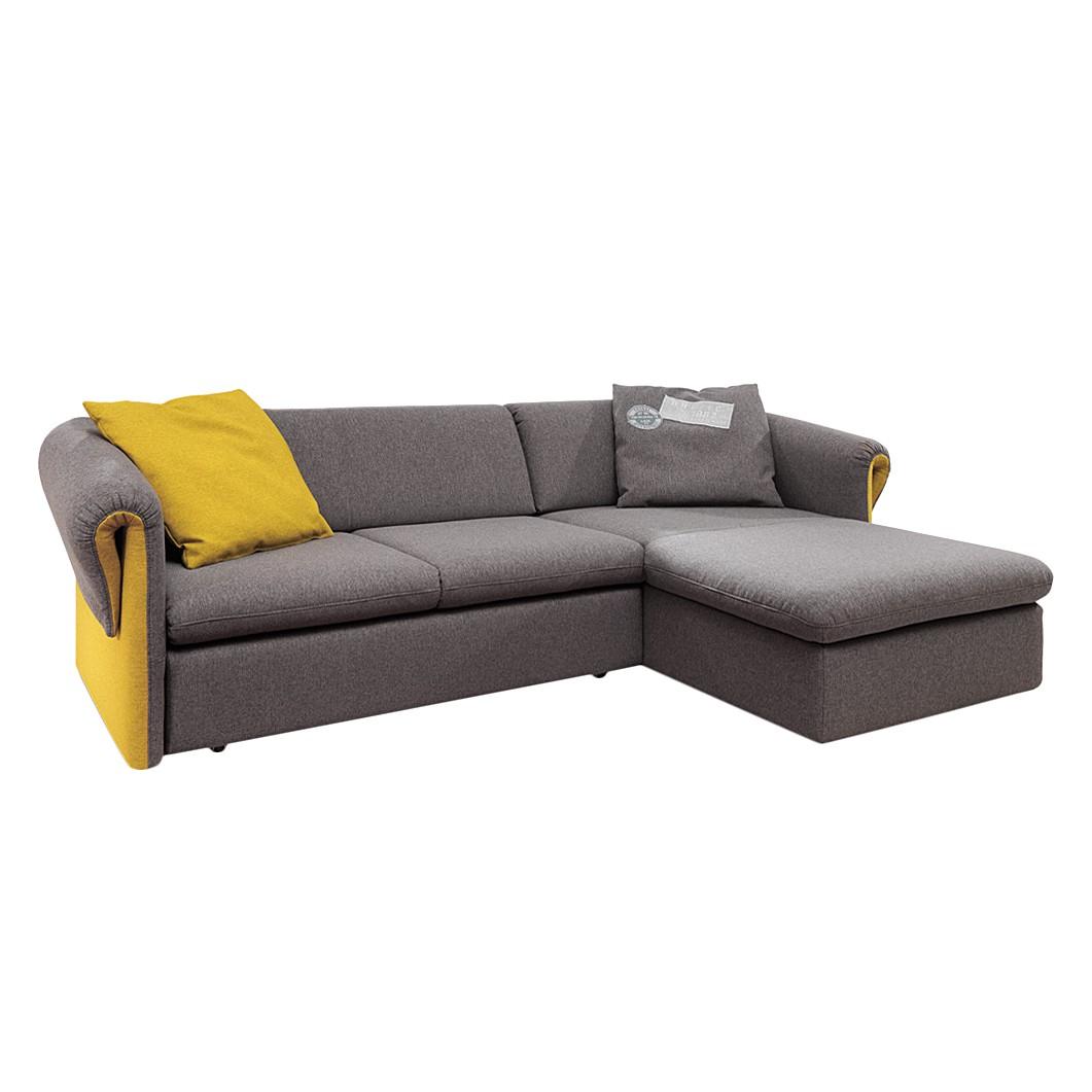 Ecksofa Button Down – Webstoff Senfgelb/Grau – Longchair davorstehend rechts, Tom Tailor günstig kaufen