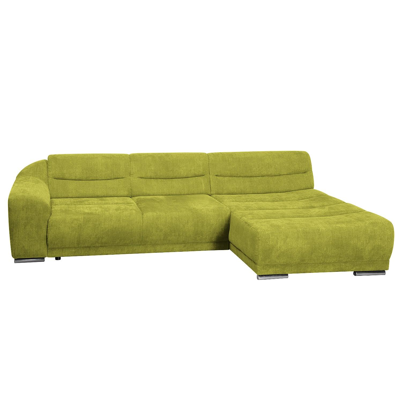 Ecksofa Carman - Webstoff - Longchair/Ottomane davorstehend rechts - Mit Schlaffunktion - Grün, Nuovoform