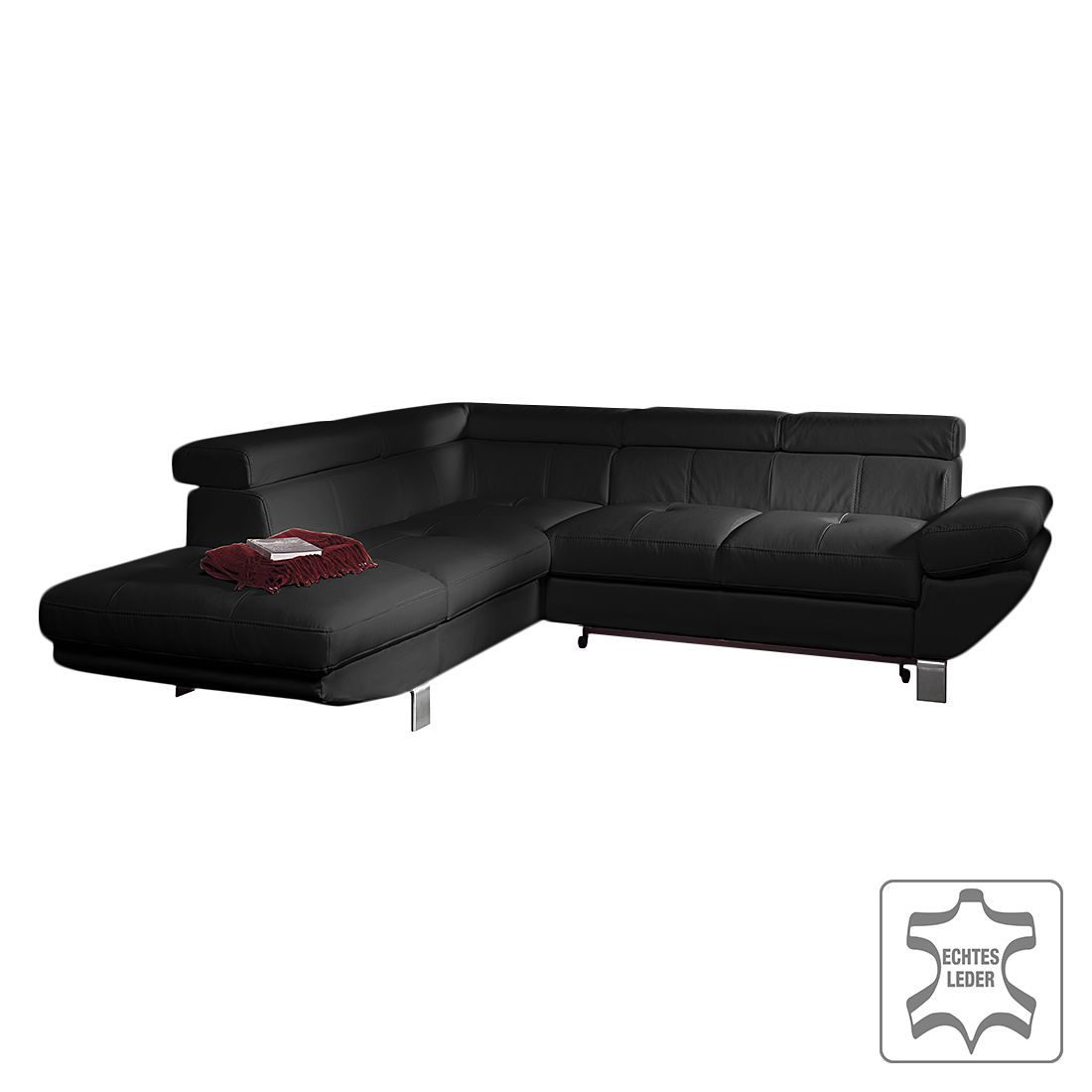 ecksofa kerry mit schlaffunktion echtleder schwarz ottomane davorstehend links cotta. Black Bedroom Furniture Sets. Home Design Ideas