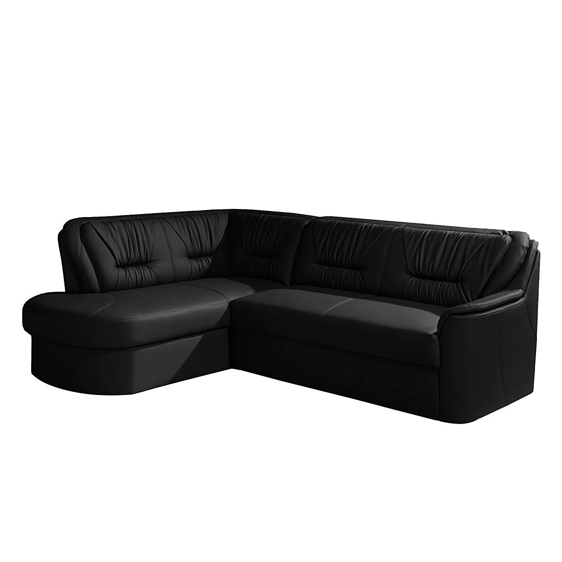 ecksofa cartagena mit schlaffunktion kunstleder schwarz ottomane davorstehend links. Black Bedroom Furniture Sets. Home Design Ideas