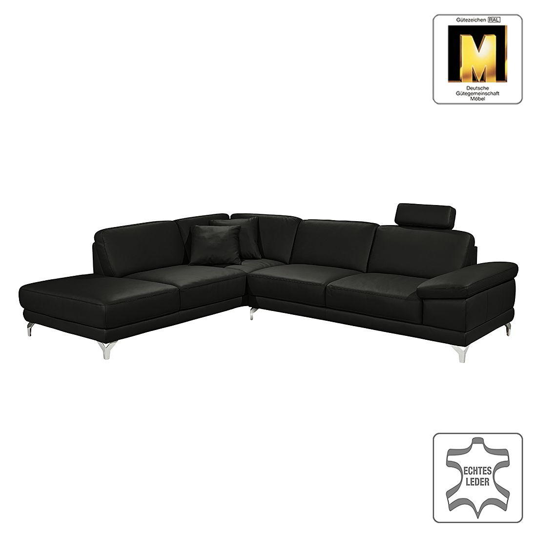 ecksofa casual line echtleder longchair ottomane davorstehend links verstellbare armlehnen. Black Bedroom Furniture Sets. Home Design Ideas