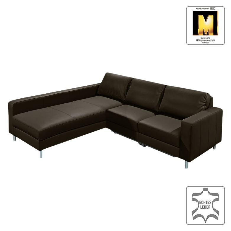 ecksofa casual line vi mit schlaffunktion echtleder dunkelbraun ottomane davorstehend. Black Bedroom Furniture Sets. Home Design Ideas