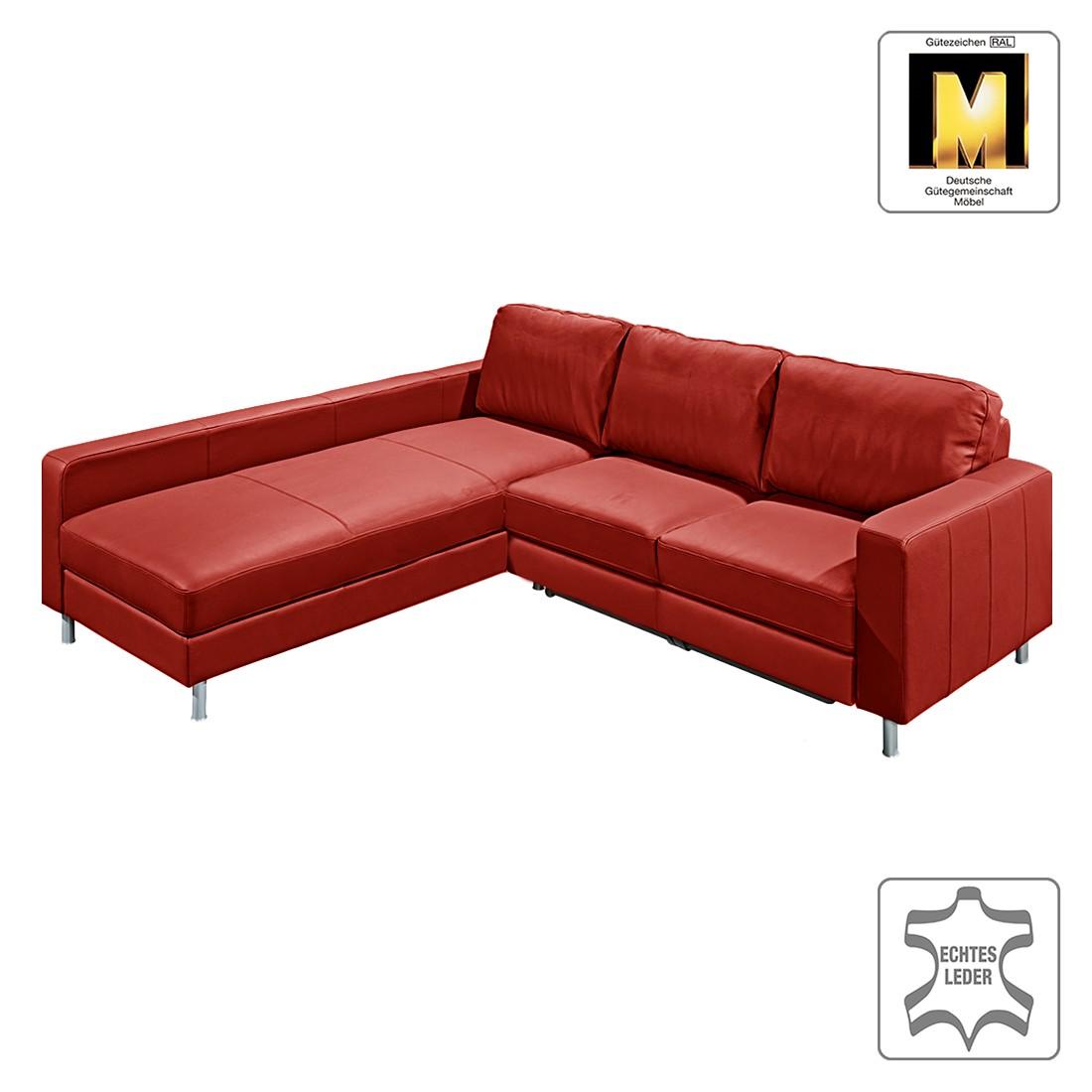 Ecksofa Casual Line VI (mit Schlaffunktion) – Echtleder Rot – Ottomane davorstehend links, Claas Claasen kaufen