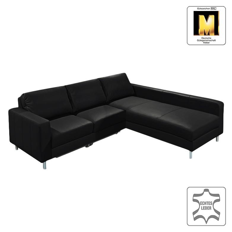ecksofa casual line vi mit schlaffunktion echtleder schwarz ottomane davorstehend rechts. Black Bedroom Furniture Sets. Home Design Ideas