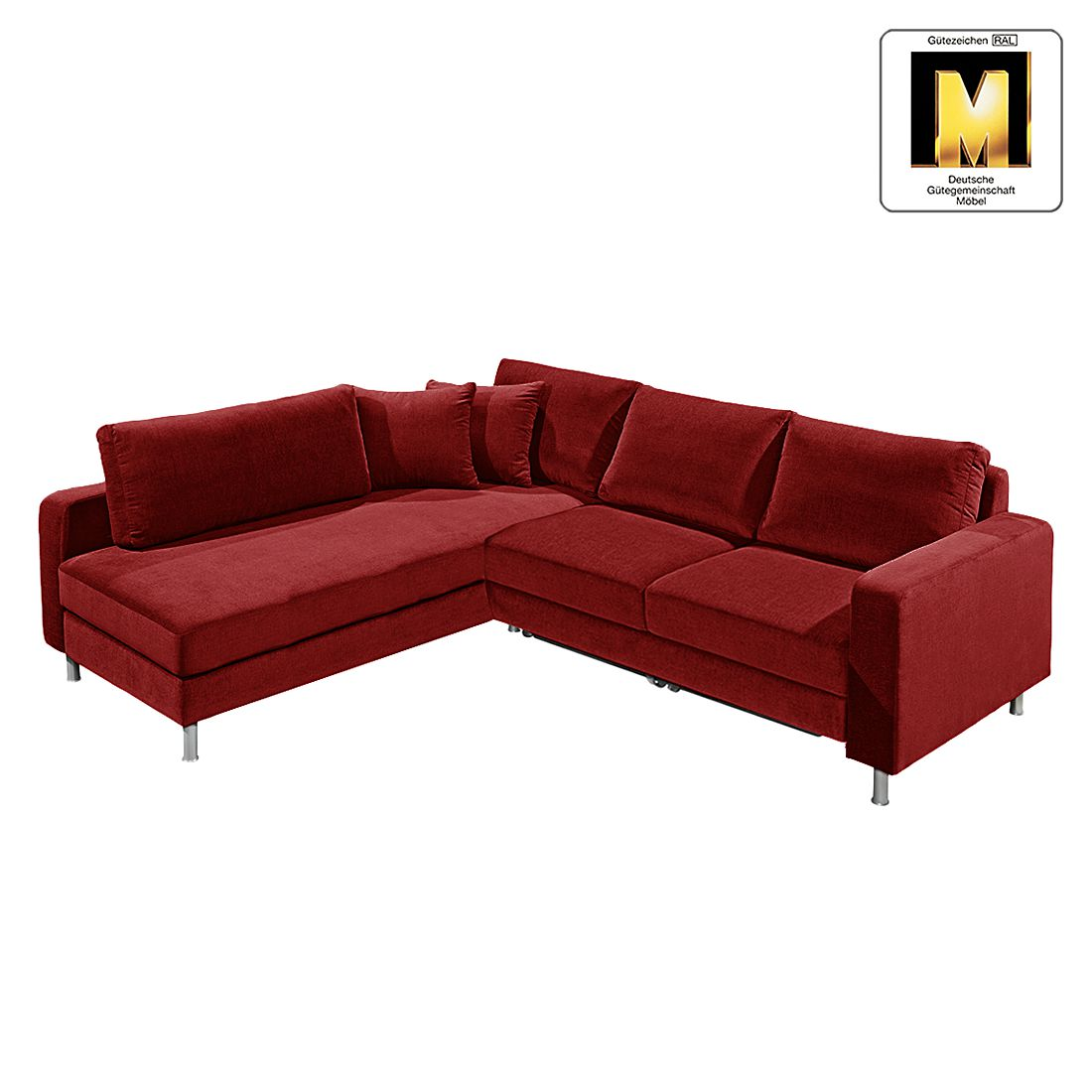 ecksofa casual line vi mit schlaffunktion velours dunkelrot ottomane davorstehend links. Black Bedroom Furniture Sets. Home Design Ideas