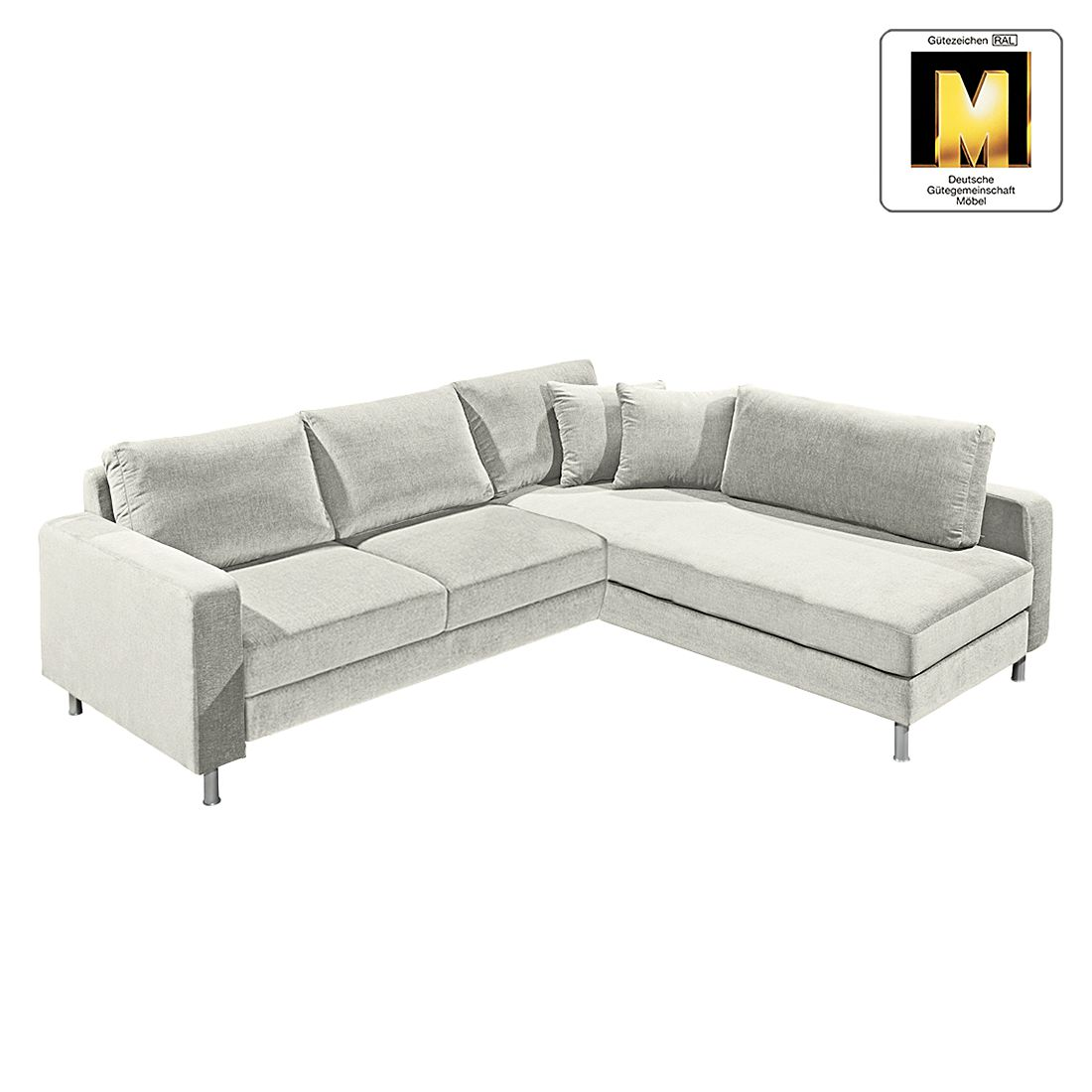 ecksofa casual line vi velours hellgrau ottomane. Black Bedroom Furniture Sets. Home Design Ideas