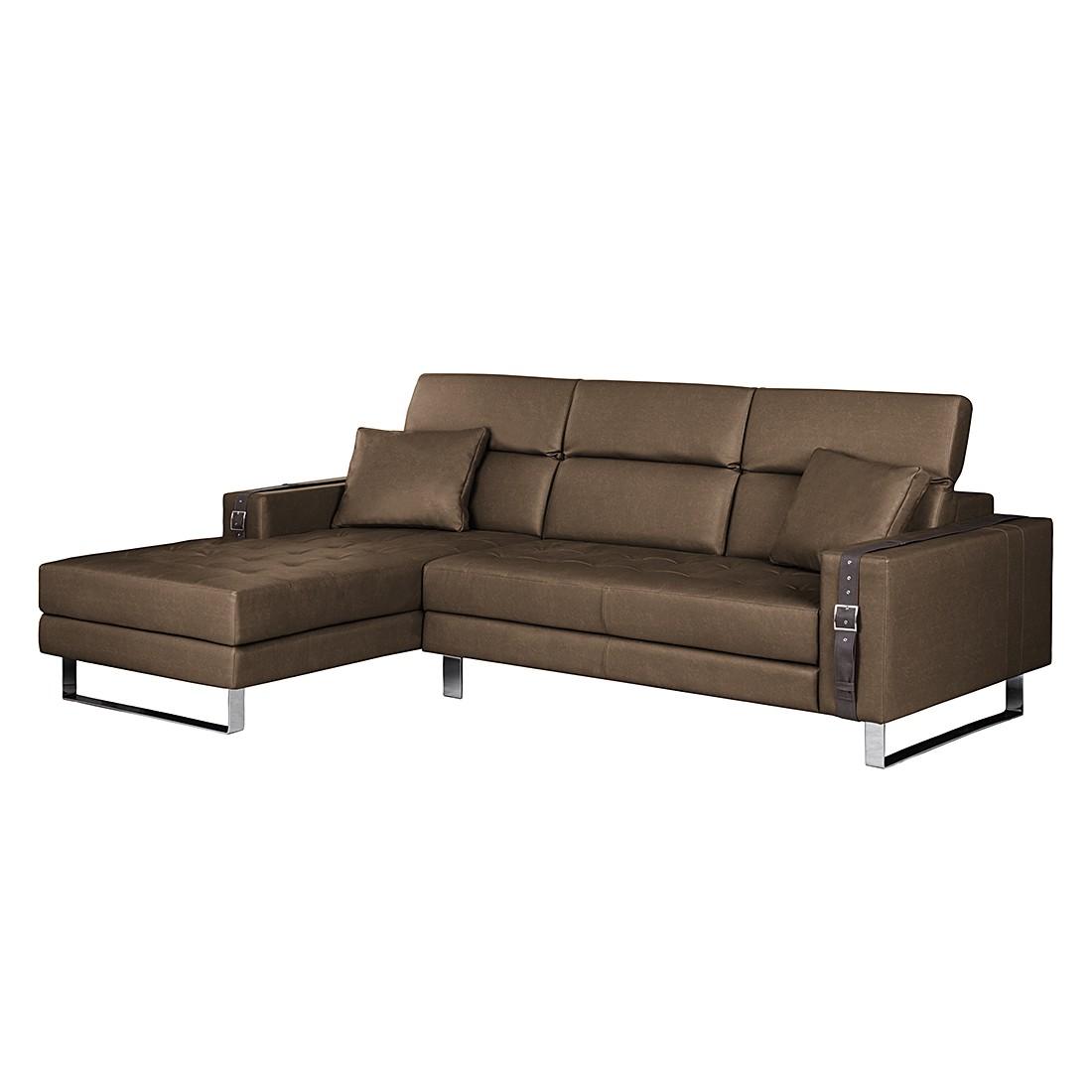 ecksofa connor kunstleder braun longchair davorstehend links loftscape g nstig kaufen. Black Bedroom Furniture Sets. Home Design Ideas