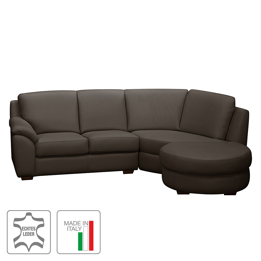 ecksofa curell echtleder ottomane davorstehend rechts dunkelbraun trend italiano online. Black Bedroom Furniture Sets. Home Design Ideas