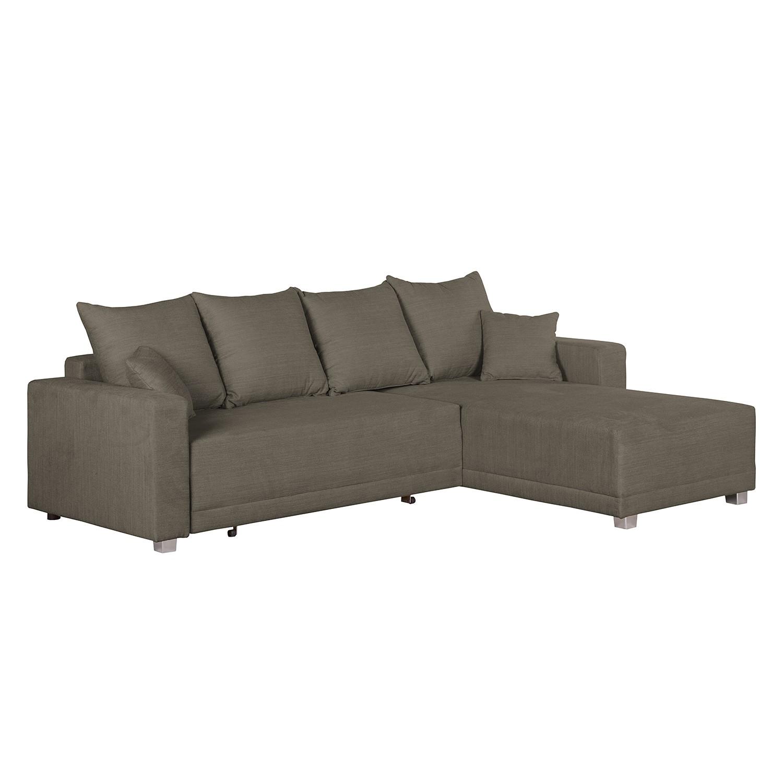 Ecksofa Danli (mit Schlaffunktion) – Webstoff – Longchair davorstehend rechts – Braun, roomscape jetzt kaufen