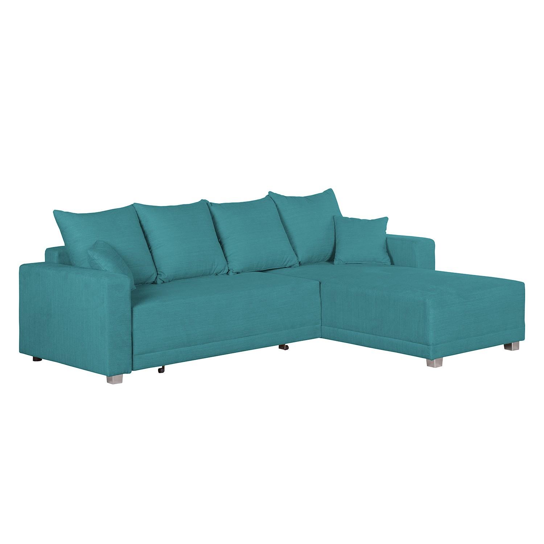 Ecksofa Danli (mit Schlaffunktion) – Webstoff – Longchair davorstehend rechts – Petrol, roomscape jetzt bestellen