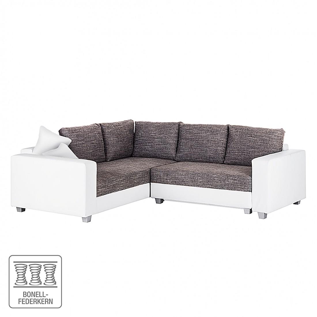 Ecksofa Dublin (mit Schlaffunktion) – Kunstleder Weiß/Strukturstoff Grau, roomscape jetzt kaufen