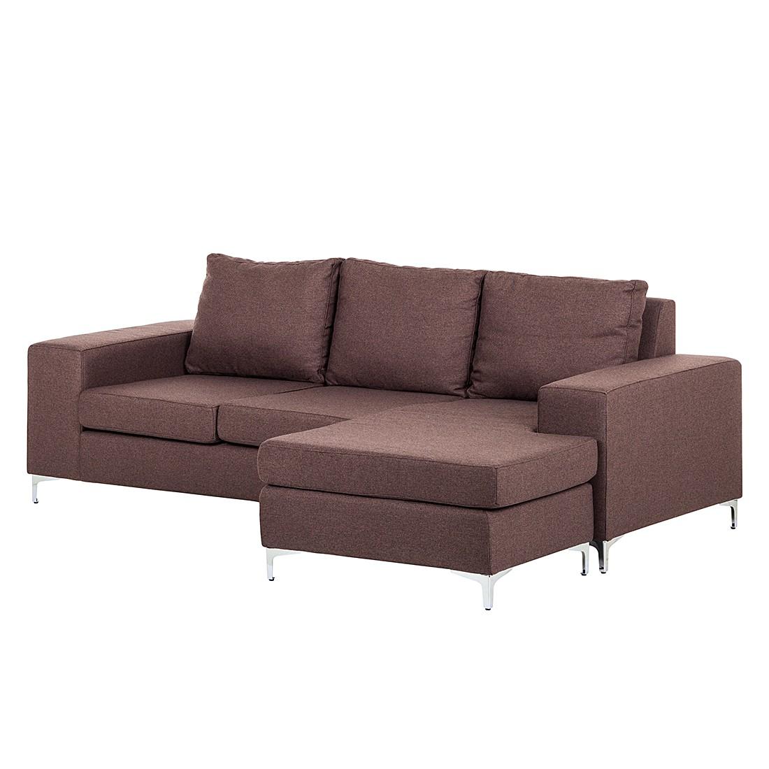 Ecksofa Cush – Webstoff Braun – Longchair davorstehend rechts, roomscape jetzt kaufen