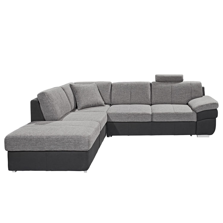 Ecksofa Eltham (mit Schlaffunktion) – Flachgewebe / Strukturstoff – Schwarz / Grau – Longchair/Ottomane davorstehend links, loftscape jetzt kaufen