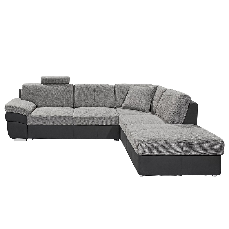 Ecksofa Eltham (mit Schlaffunktion) - Flachgewebe / Strukturstoff - Schwarz / Grau - Longchair/Ottomane davorstehend rechts, loftscape
