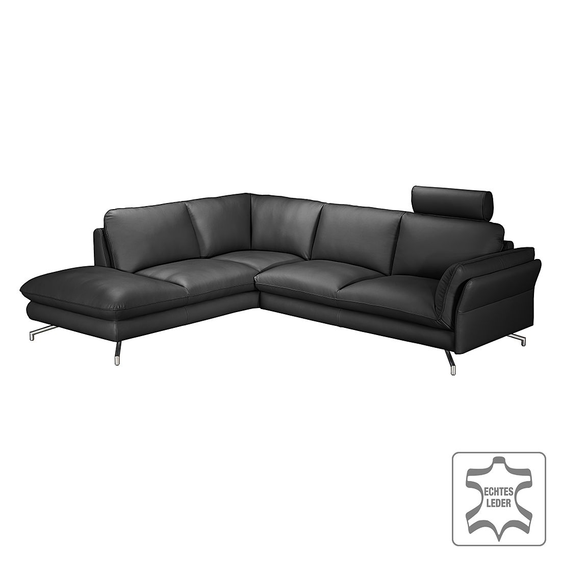 ecksofa enrico echtleder schwarz ottomane davorstehend links mit 2 kopfst tzen loftscape. Black Bedroom Furniture Sets. Home Design Ideas