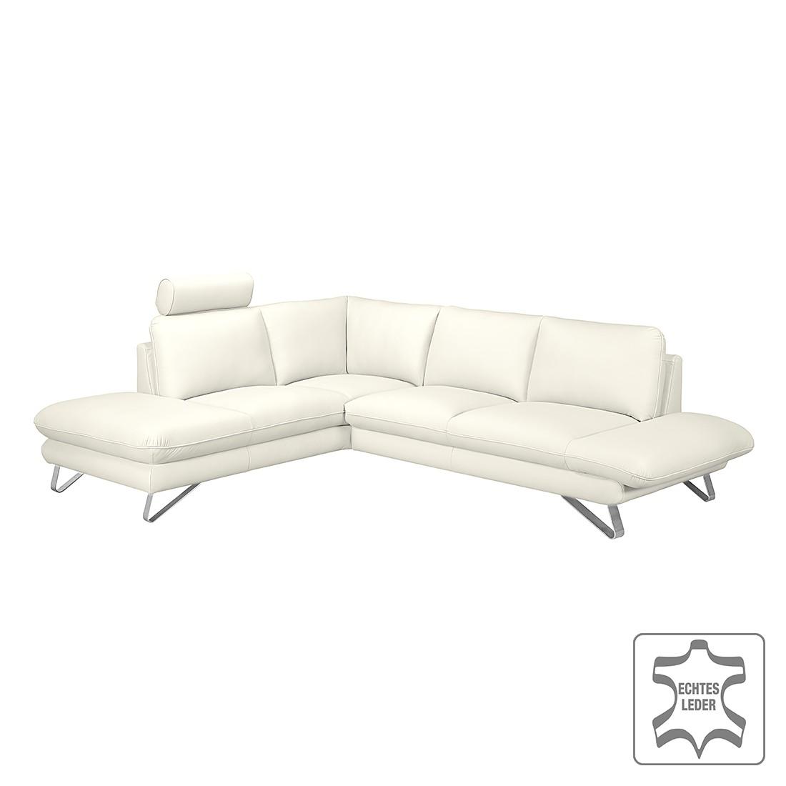 ecksofa enzo echtleder wei ottomane davorstehend links mit 2 kopfst tzen loftscape. Black Bedroom Furniture Sets. Home Design Ideas