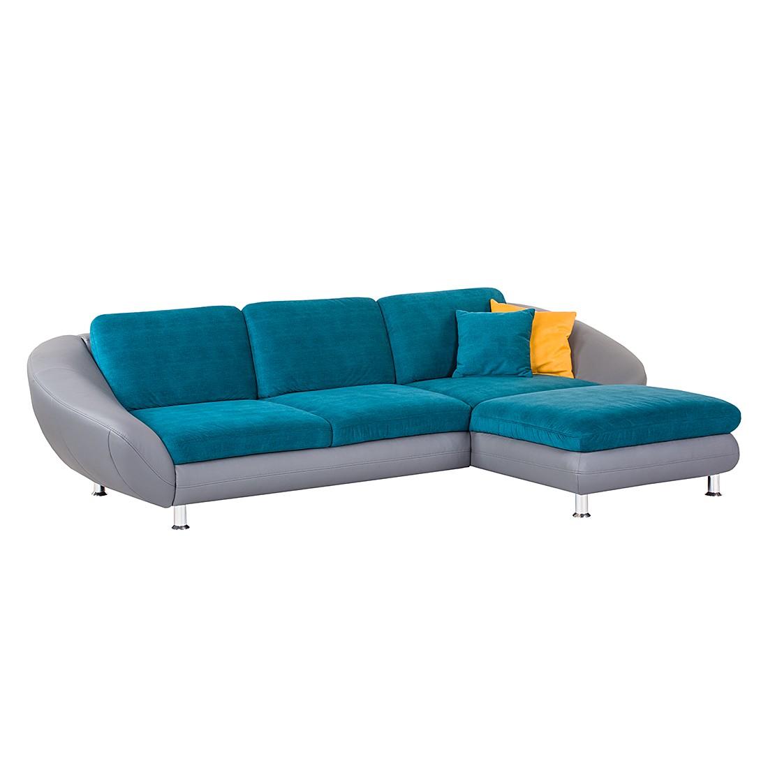 ecksofa federico kunstleder grau webstoff t rkis longchair davorstehend rechts nuovoform. Black Bedroom Furniture Sets. Home Design Ideas