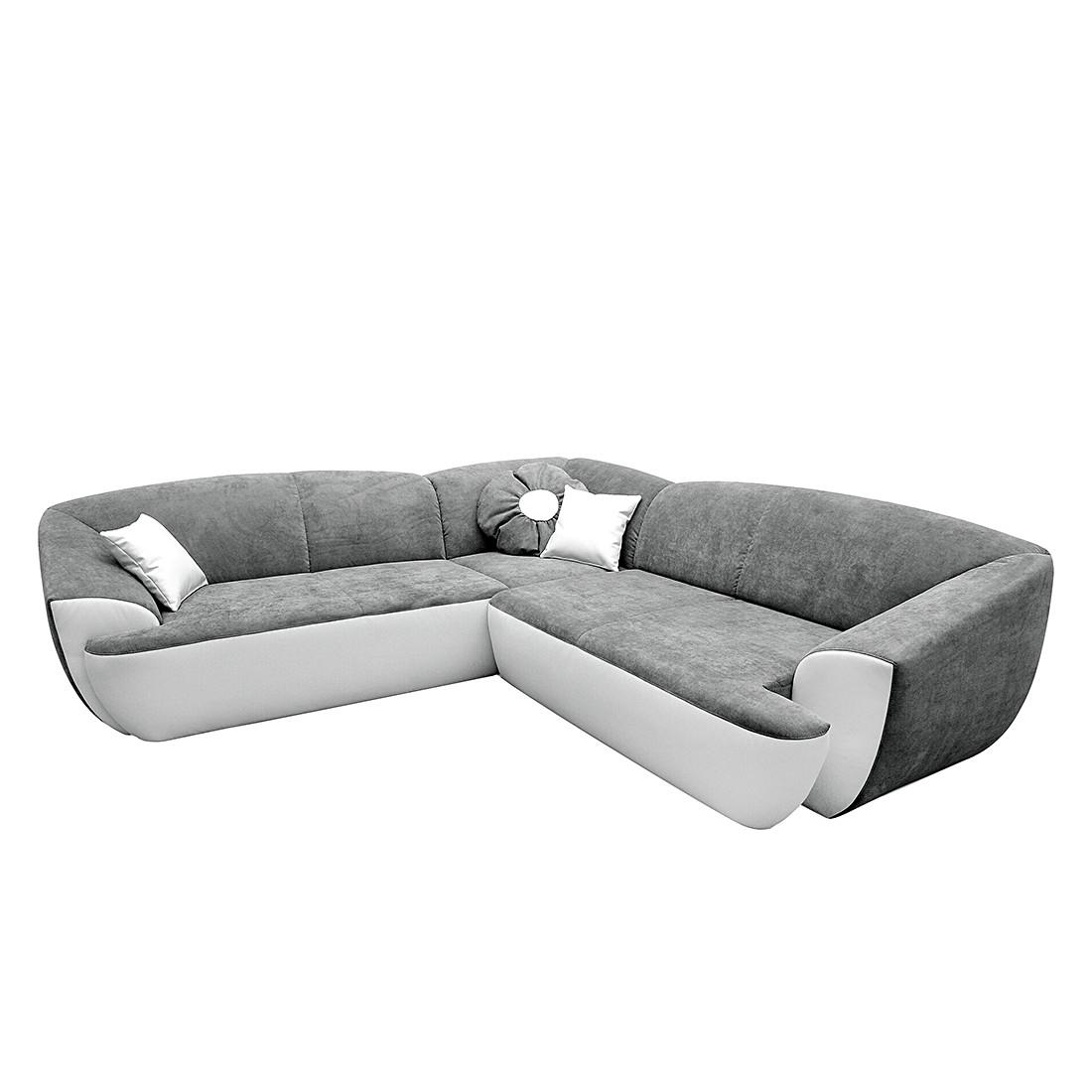 Ecksofa Flint (mit Sitzerweiterung) – Kunstleder/Microfaser – Weiß/Grau, Home Design günstig bestellen
