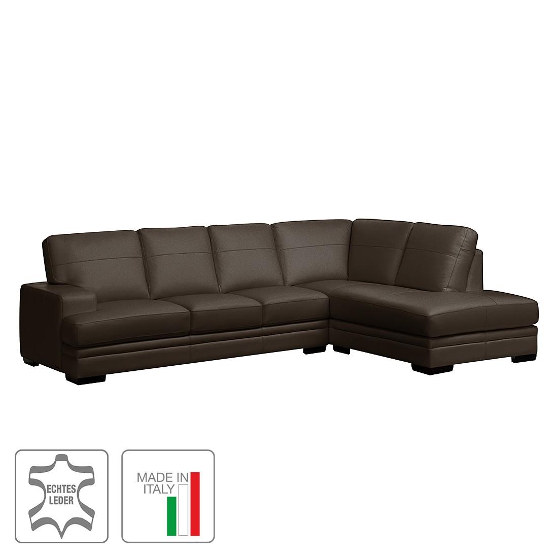 Ecksofa Fontienne – Echtleder – Longchair/Ottomane davorstehend rechts – Dunkelbraun, Trend Italiano jetzt kaufen