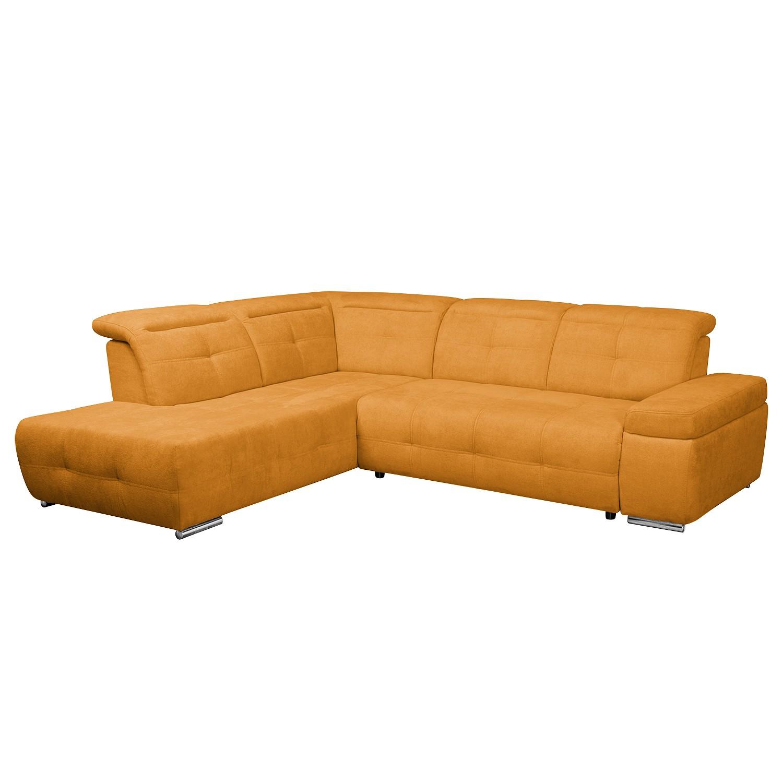 Ecksofa Gimli - Webstoff - Longchair/Ottomane davorstehend links - Ohne Schlaffunktion - Orange, Nuovoform