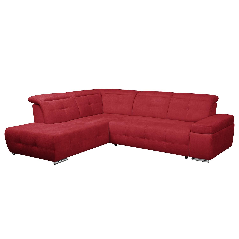 Ecksofa Gimli - Webstoff - Longchair/Ottomane davorstehend links - Ohne Schlaffunktion - Rot, Nuovoform