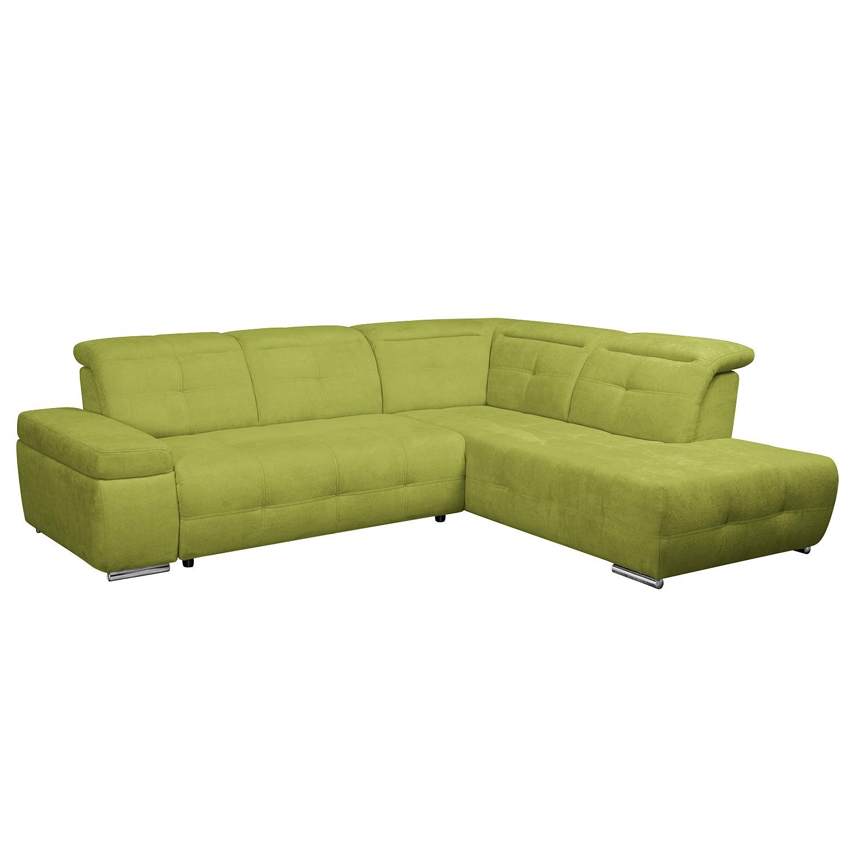 Ecksofa Gimli - Webstoff - Longchair/Ottomane davorstehend rechts - Ohne Schlaffunktion - Grün, Nuovoform