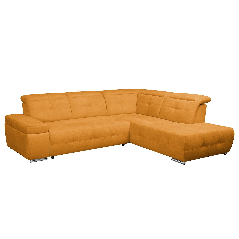 Ecksofa Gimli - Webstoff - Longchair/Ottomane davorstehend rechts - Ohne Schlaffunktion - Orange, Nuovoform