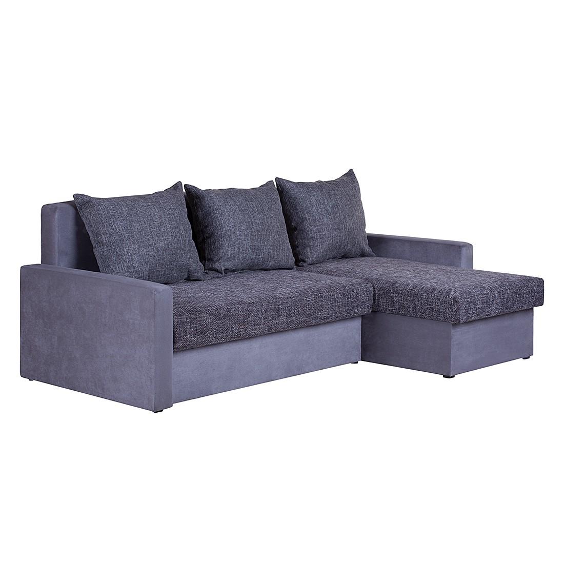 Ecksofa Giove (mit Schlaffunktion) – Microfaser Grau/Strukturstoff Schwarz/Grau – Longchair davorstehend rechts, mooved günstig kaufen