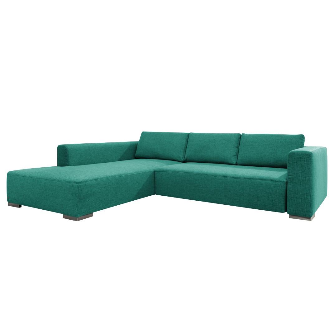 Hoekbank Heaven Colors Style M - geweven stof - longchair vooraanzicht links - Met slaapfunctie - Turquoise, Tom Tailor