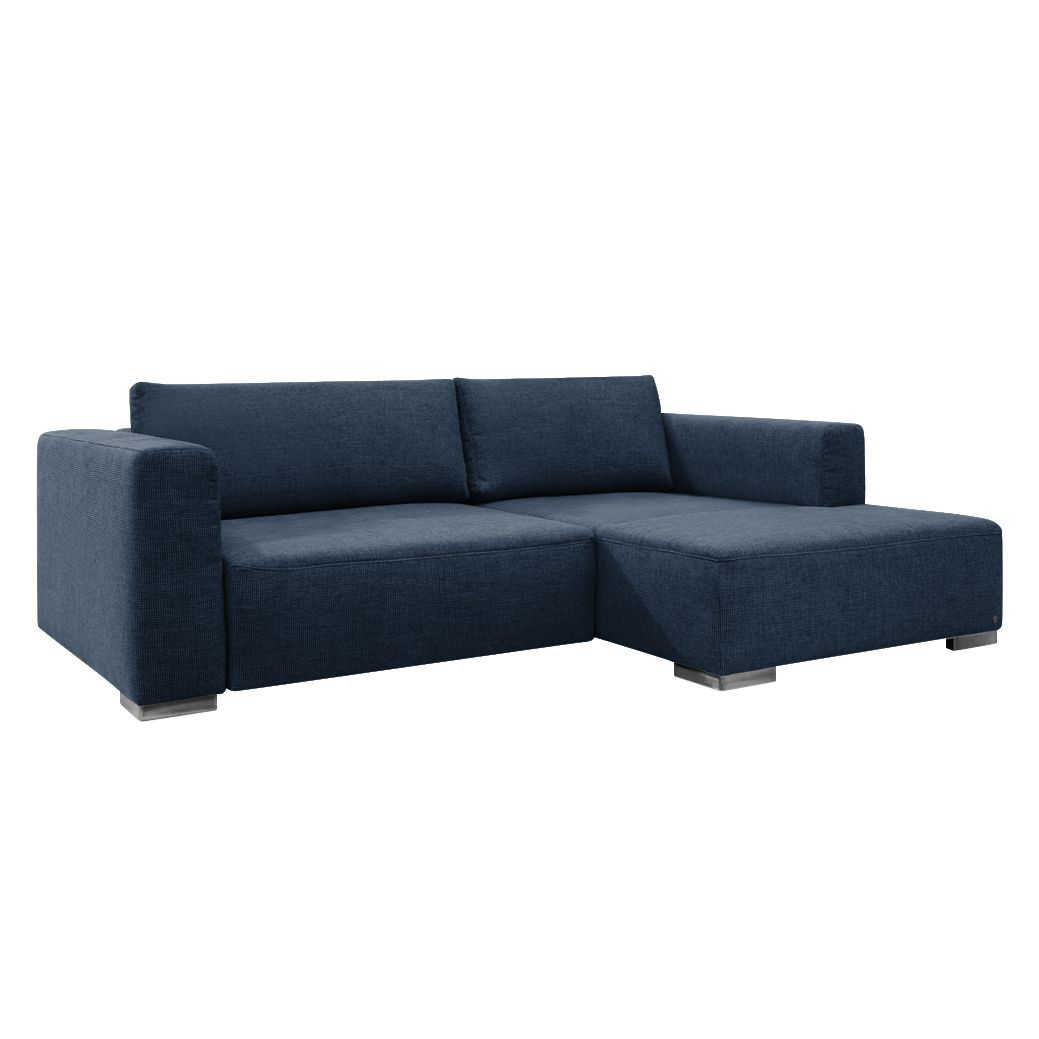 Ecksofa Heaven Colors Style S - Webstoff - Longchair/Ottomane davorstehend rechts - Mit Schlaffunktion - Dunkelblau, Tom Tailor
