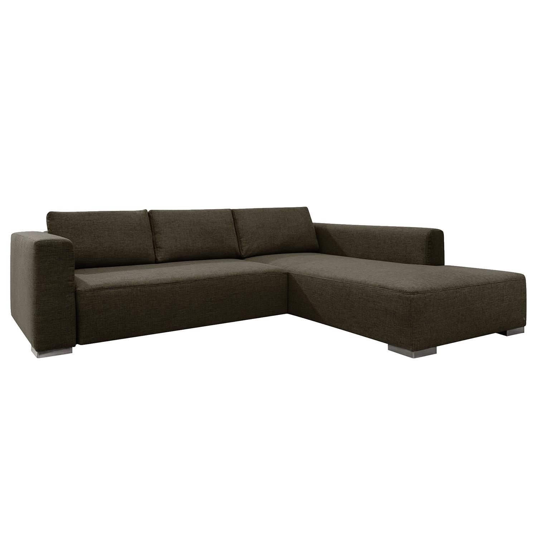 Ecksofa Heaven Colors Style XL - Webstoff - Longchair/Ottomane davorstehend rechts - Ohne Schlaffunktion - Dunkelbraun, Tom Tailor