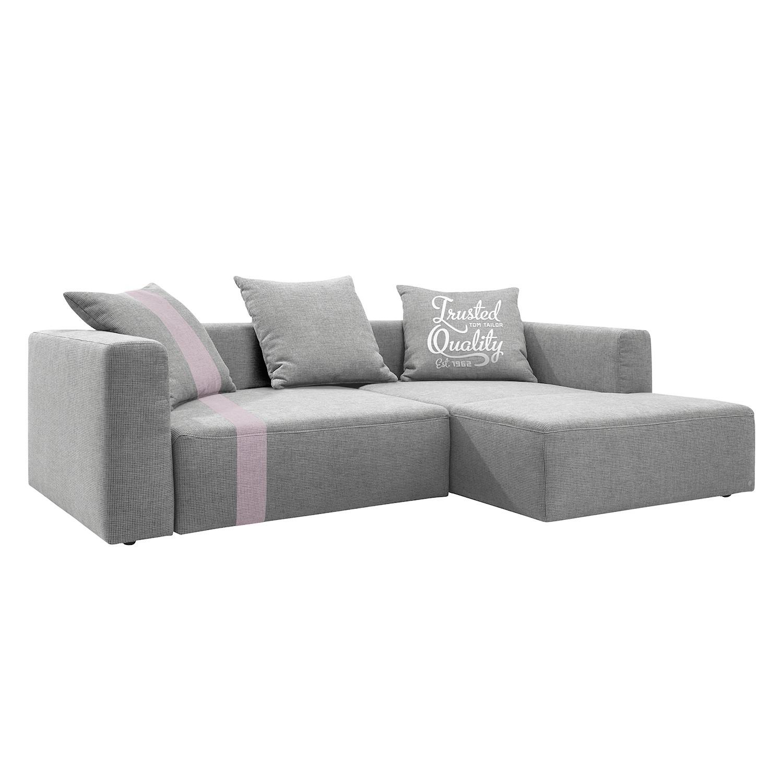 Ecksofa Heaven Stripe - Webstoff - Longchair davorstehend rechts - Hellgrau/Lavendel - Ohne Kissen, Tom Tailor