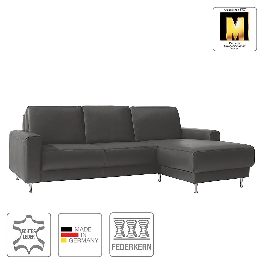 ecksofa jazz i echtleder ohne kopfst tze longchair ottomane davorstehend rechts grau fm. Black Bedroom Furniture Sets. Home Design Ideas
