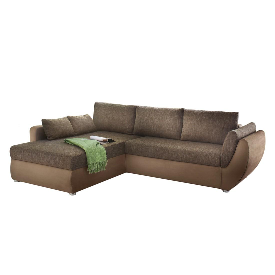 ecksofa venus microfaser braun ottomane davorstehend links mit hocker mooved online kaufen. Black Bedroom Furniture Sets. Home Design Ideas