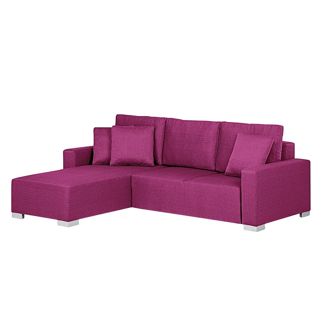 Ecksofa Moabit (mit Schlaffunktion) – Webstoff Pink – Ottomane davorstehend links, roomscape jetzt kaufen