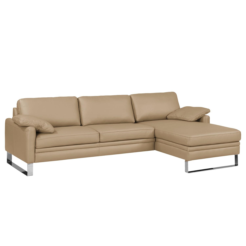 ecksofa laureto i echtleder longchair davorstehend rechts sand nuovoform tipps vom. Black Bedroom Furniture Sets. Home Design Ideas