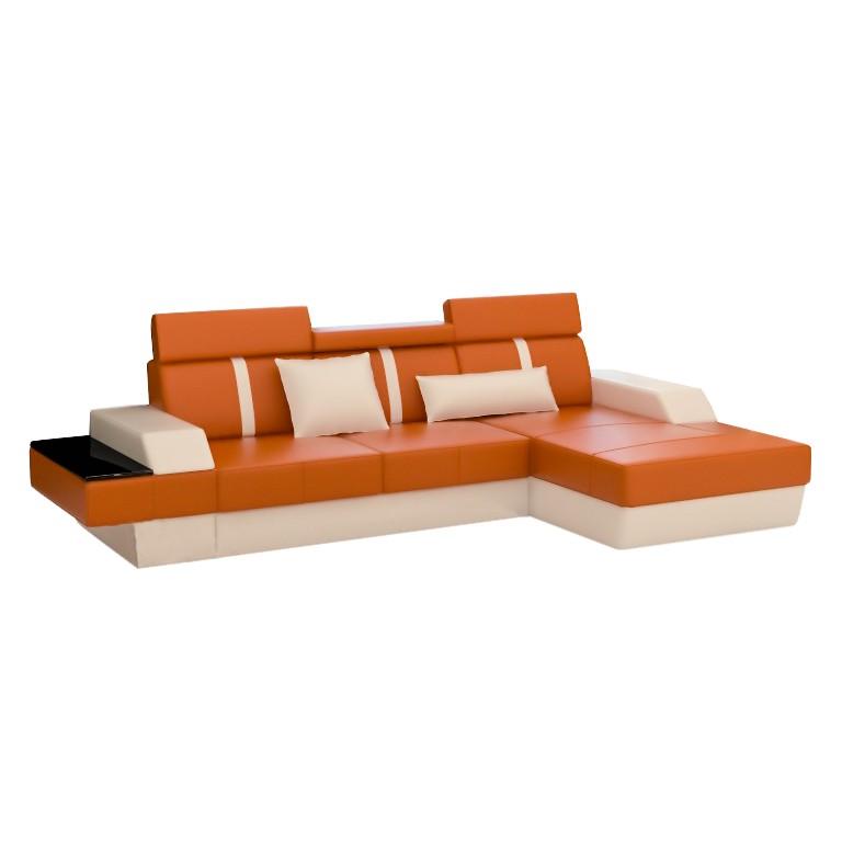 Ecksofa LeMansI – Kunstleder, L-Form, Orange/Weiß – Ausführung: Liege Links, home24 jetzt kaufen